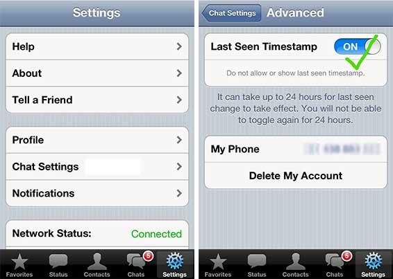 Letzter Kontakt deaktivieren für iPhone
