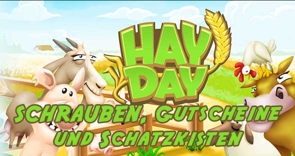 Hay Day Schrauben, Schatzkisten und Gutscheine