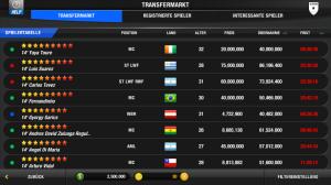 Screenshot aus dem One For Eleven Transfermarkt