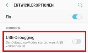 USB-Debugging beim Galaxy S8 aktivieren