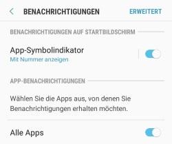 Android App-Symbolindikator anzeigen