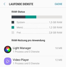 Android laufende Dienste anzeigen