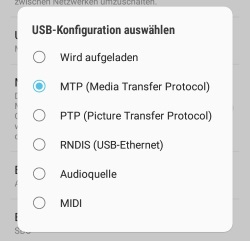 MTP-Modus einschalten