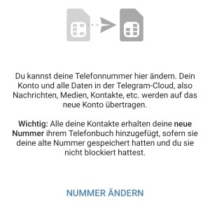 Telegram Nummer ändern und wechseln